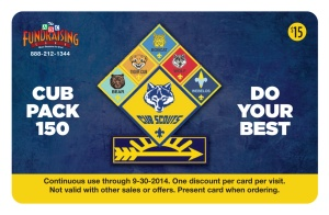Cub Pack 150 Discount Card front